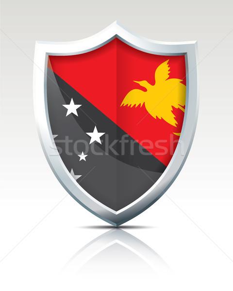 Pajzs zászló Pápua Új-Guinea textúra térkép terv Stock fotó © ojal