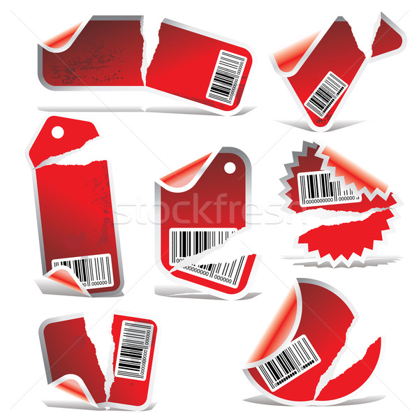 red ripped tag and sticker set with bar codes Stock photo © ojal