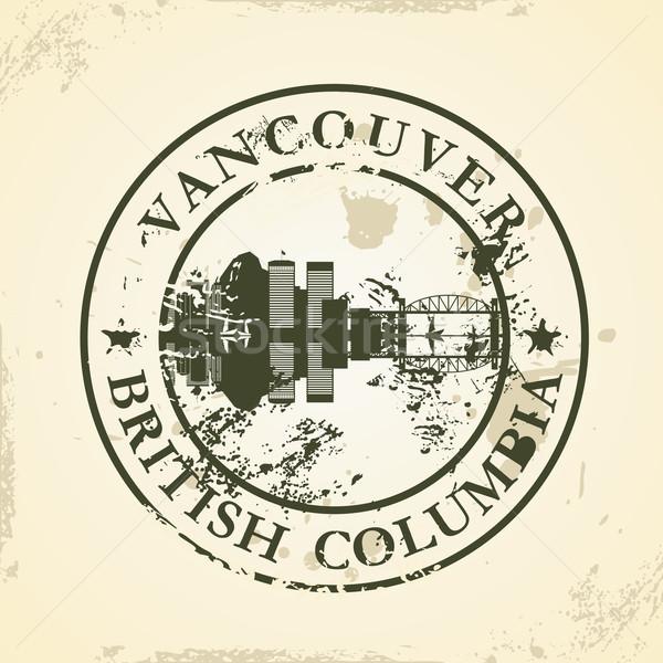 Grunge Vancouver İngilizler Bina baskı Stok fotoğraf © ojal