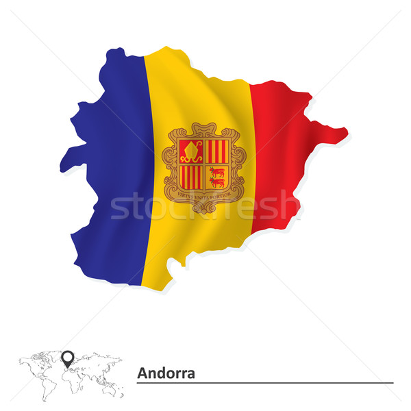Kaart Andorra vlag stad abstract ontwerp Stockfoto © ojal