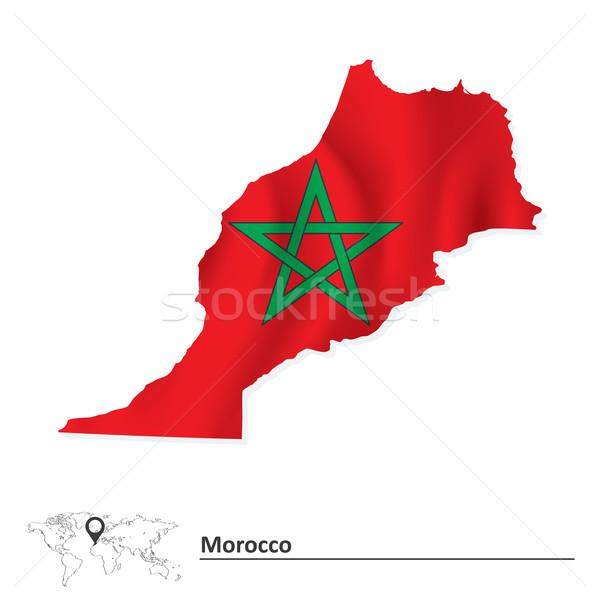 Mapa Marrocos bandeira viajar estrela vermelho Foto stock © ojal