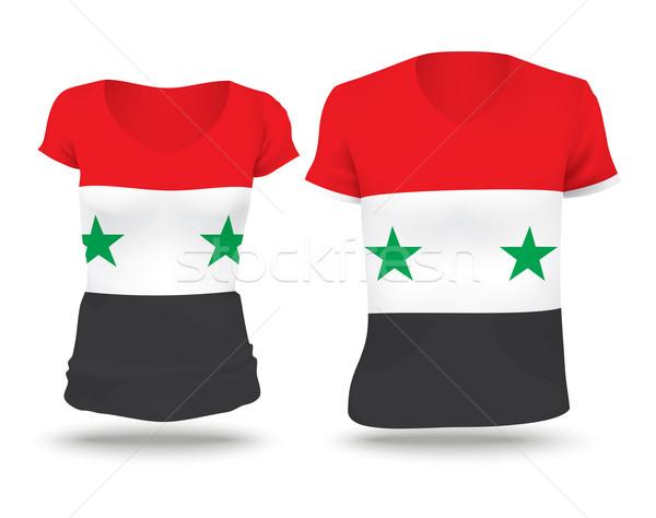 Bandeira camisas projeto Síria mulher homem Foto stock © ojal