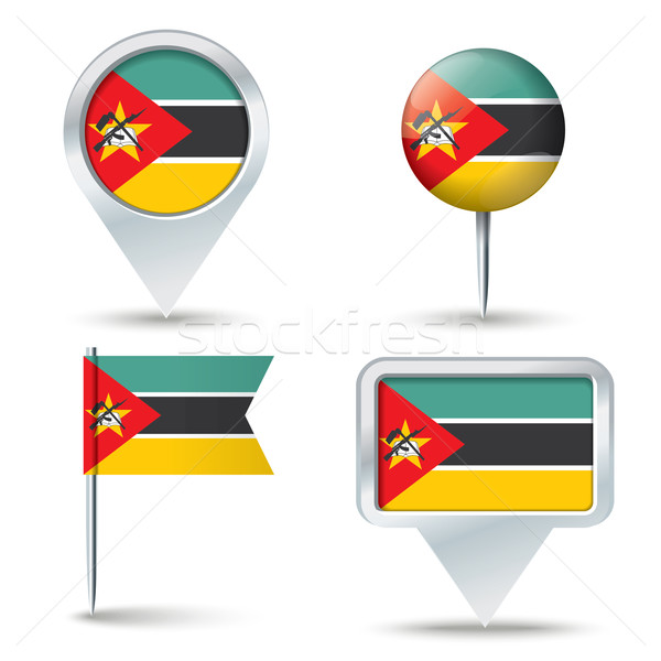 Map pins with flag of Mozambique Stock photo © ojal