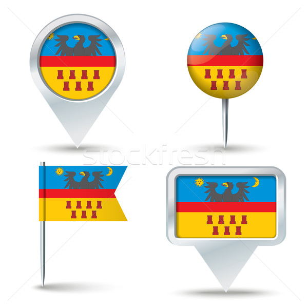 Map pins with flag of Transylvania Stock photo © ojal