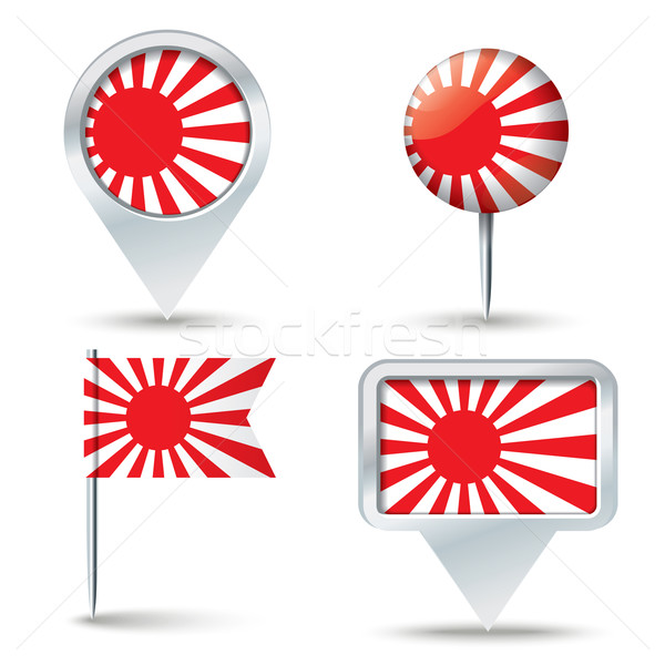 Map pins with Japanese Naval flag Stock photo © ojal