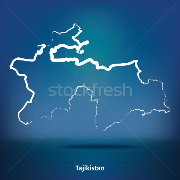 болван карта Таджикистан Мир рисунок Азии Сток-фото © ojal