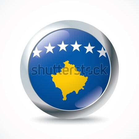 Kosovo bandeira botão textura projeto mundo Foto stock © ojal