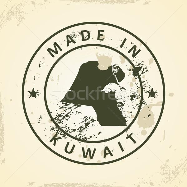 Foto d'archivio: Timbro · mappa · Kuwait · grunge · mondo · sfondo