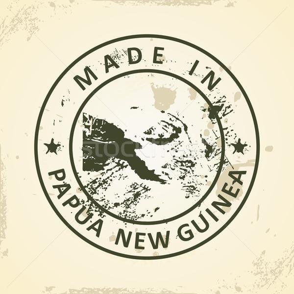 штампа карта Папуа-Новая Гвинея Гранж знак путешествия Сток-фото © ojal