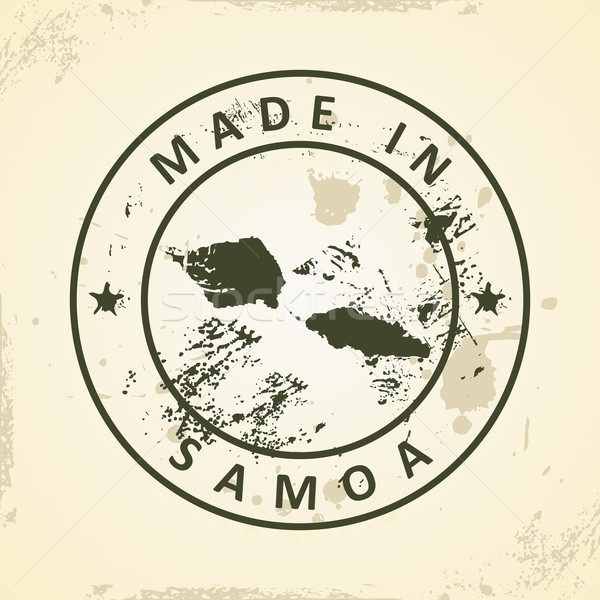 Stamp with map of Samoa Stock photo © ojal