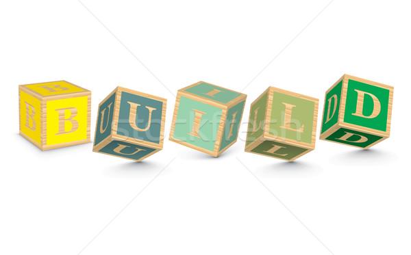 Szó épít írott ábécé kockák üzlet Stock fotó © ojal