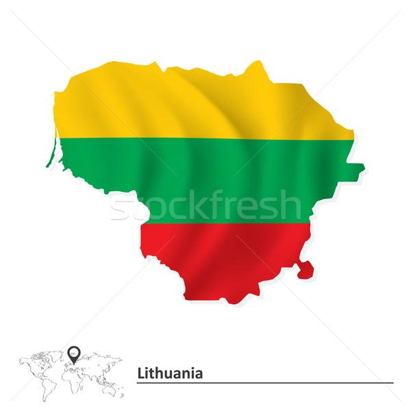 Kaart Litouwen vlag wereld achtergrond teken Stockfoto © ojal