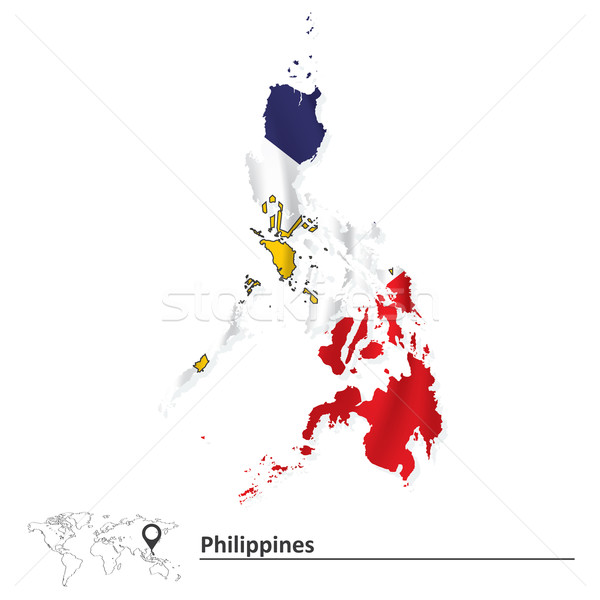 Map of Philippines with flag Stock photo © ojal