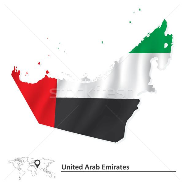Mapa Emirados Árabes Unidos bandeira textura fundo vento Foto stock © ojal