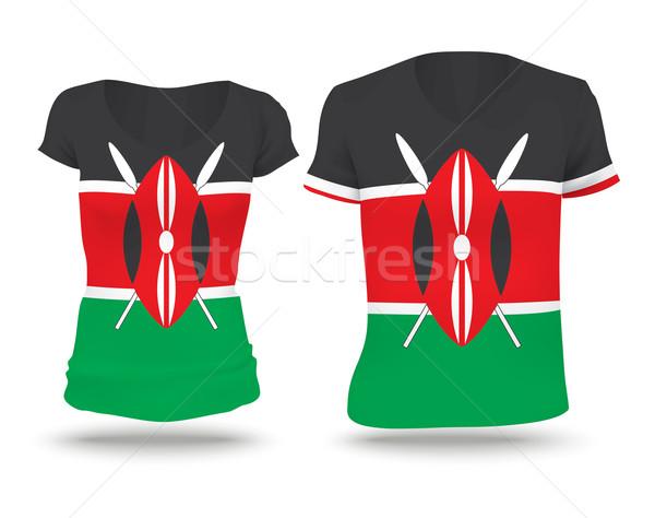 Zászló póló terv Kenya nő férfi Stock fotó © ojal
