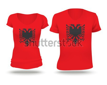 Vlag shirt ontwerp Kirgizië vrouw man Stockfoto © ojal