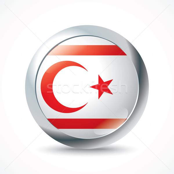 Noordelijk Cyprus vlag knop wereld achtergrond Stockfoto © ojal