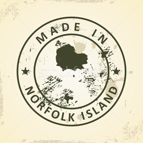 Stamp with map of Norfolk Island Stock photo © ojal