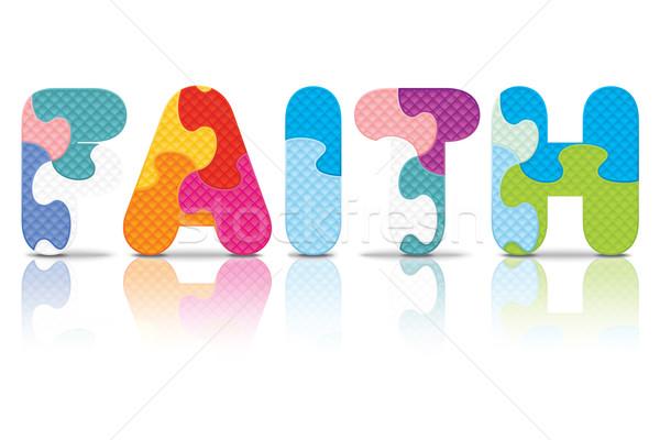 Vektor Glauben geschrieben Alphabet Puzzle Liebe Stock foto © ojal
