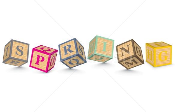 Stock photo: Word SPRING written with alphabet blocks