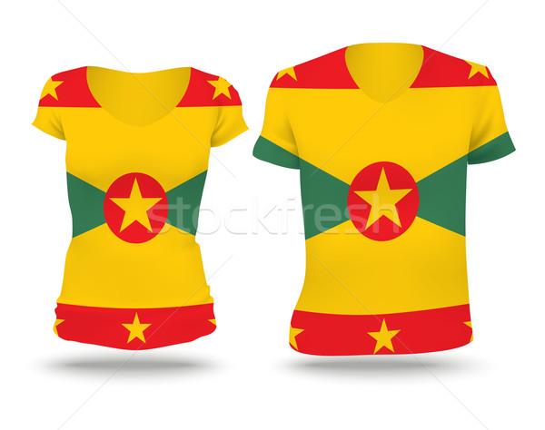 Vlag shirt ontwerp Grenada vrouw man Stockfoto © ojal