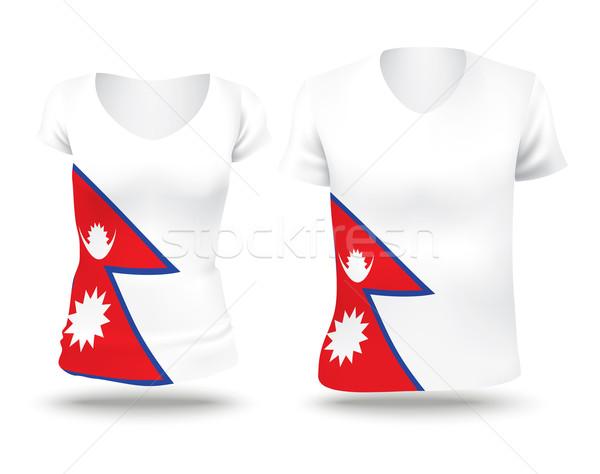 Bandera camisa diseno Nepal mujer hombre Foto stock © ojal