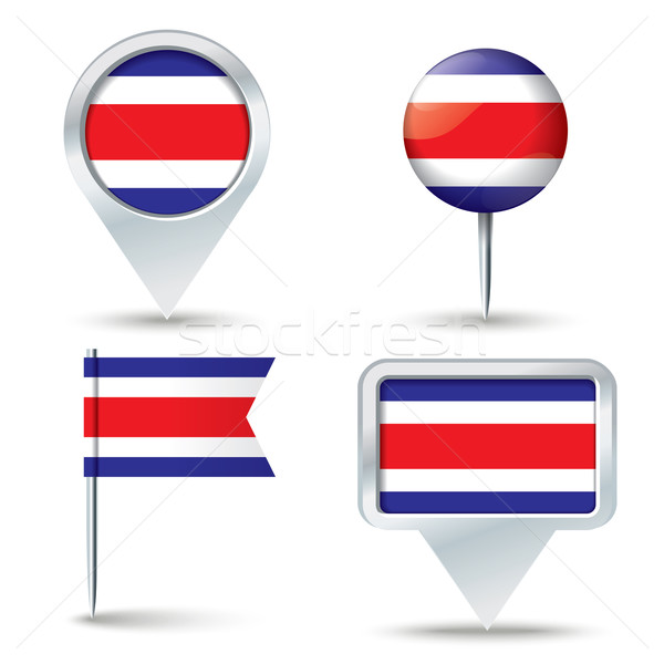 Map pins with flag of Costa Rica Stock photo © ojal