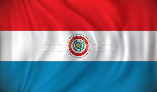 Banderą Paragwaj Pokaż podróży czerwony wiatr Zdjęcia stock © ojal