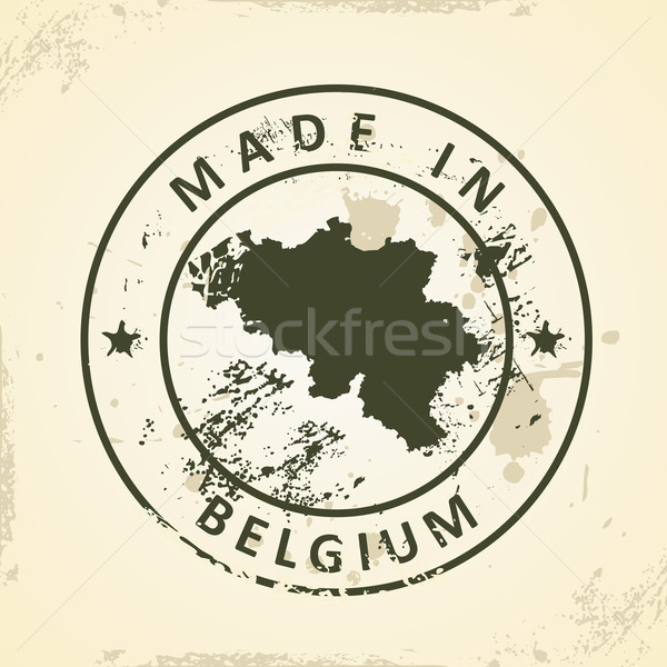Stamp with map of Belgium Stock photo © ojal