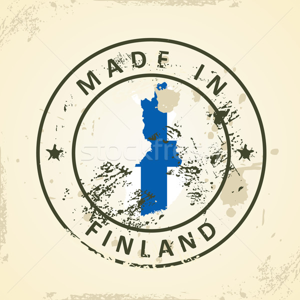 Stempel kaart vlag Finland grunge textuur Stockfoto © ojal