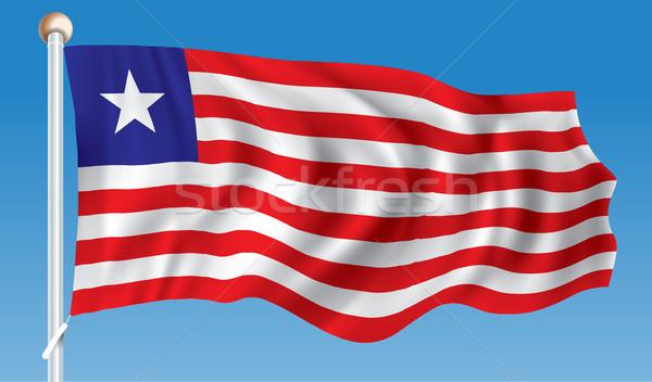Bandeira Libéria textura azul estrela preto Foto stock © ojal