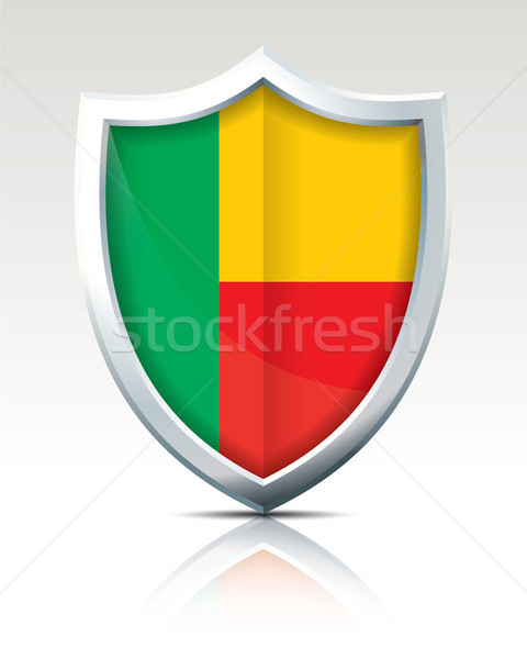 Shield with Flag of Benin Stock photo © ojal