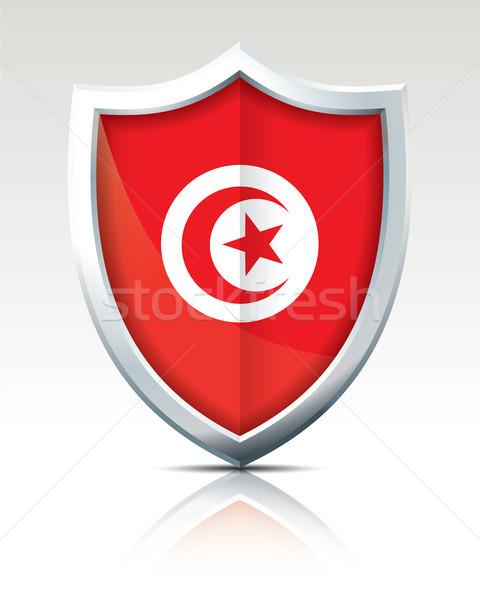 щит флаг Тунис карта путешествия звездой Сток-фото © ojal