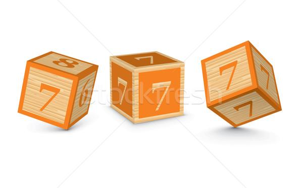 Stock photo: Vector number 7 wooden alphabet blocks