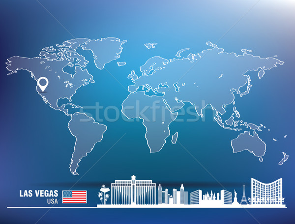 Kaart pin Las Vegas skyline gebouw stad Stockfoto © ojal