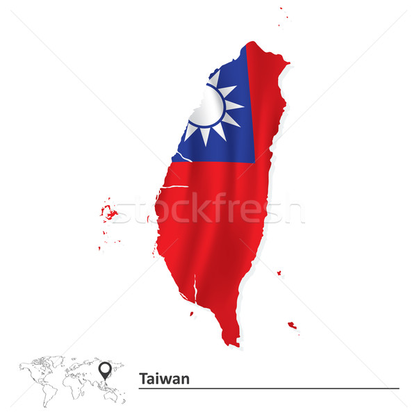 Harita Tayvan bayrak arka plan mavi grafik Stok fotoğraf © ojal