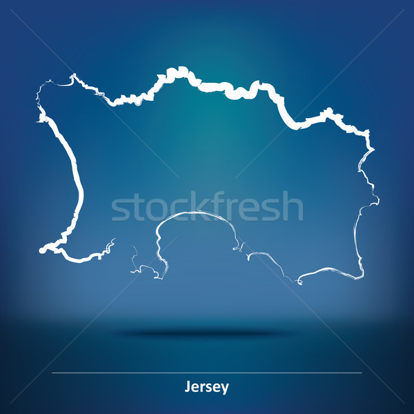 Doodle Map of Jersey Stock photo © ojal