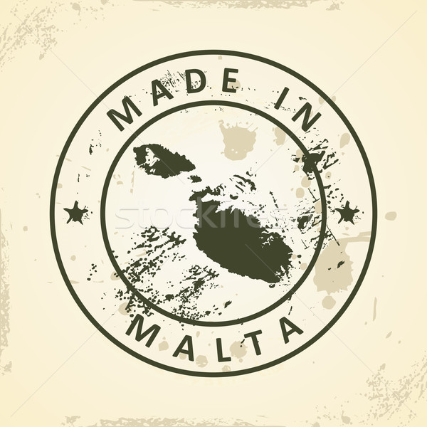 Stamp with map of Malta Stock photo © ojal