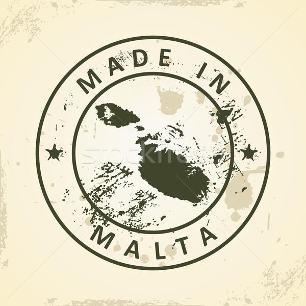 Stempel kaart Malta grunge teken reizen Stockfoto © ojal