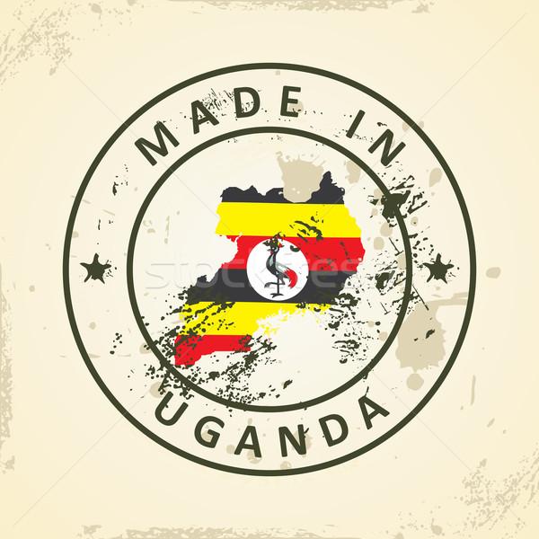 Timbro mappa bandiera Uganda grunge mondo Foto d'archivio © ojal