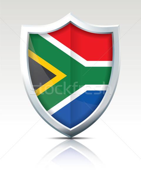 Escudo bandeira África do Sul mapa mundo vento Foto stock © ojal