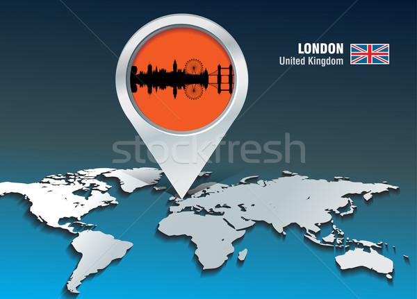Сток-фото: карта · Pin · Лондон · Skyline · здании · город