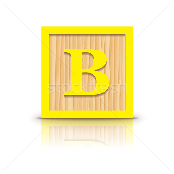 Vector letter B wooden alphabet block Stock photo © ojal