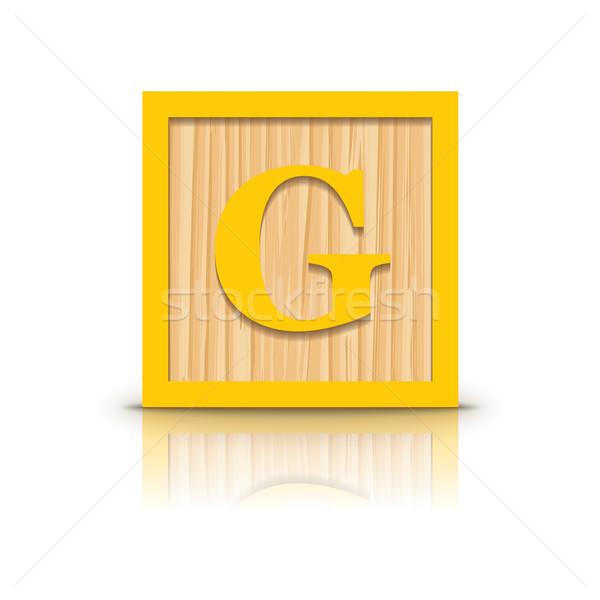 Vector letter G wooden alphabet block Stock photo © ojal