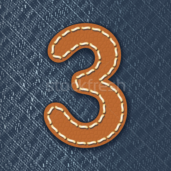 Number 3 made from leather on jeans background Stock photo © ojal