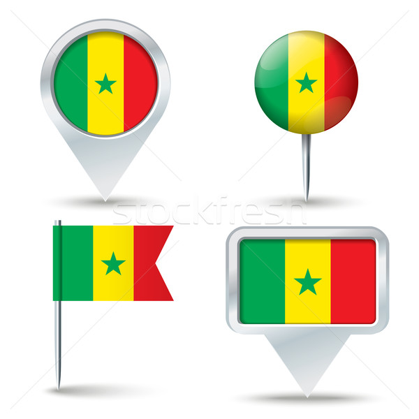 Map pins with flag of Senegal Stock photo © ojal