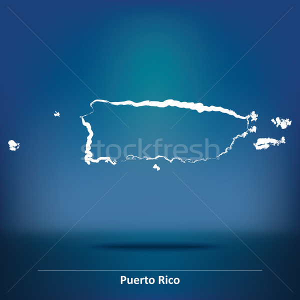 Doodle kaart Puerto Rico Rood grafiek land Stockfoto © ojal