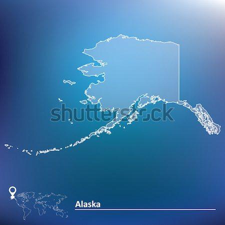 Doodle carte Alaska signe bleu Voyage Photo stock © ojal