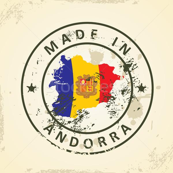 Stempel Karte Flagge Andorra Grunge Textur Stock foto © ojal