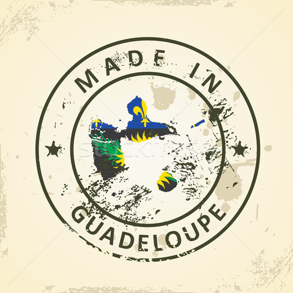 Stamp with map flag of Guadeloupe Stock photo © ojal